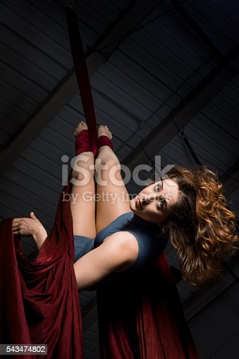 629965740 istock photo Graceful aerial dancer woman training at the circus 543474802