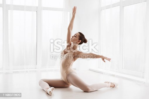 Beautiful Girl Posing In Modern Dance Class. Free Space for text