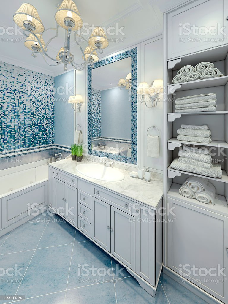 Graceful bathroom art deco design stock photo