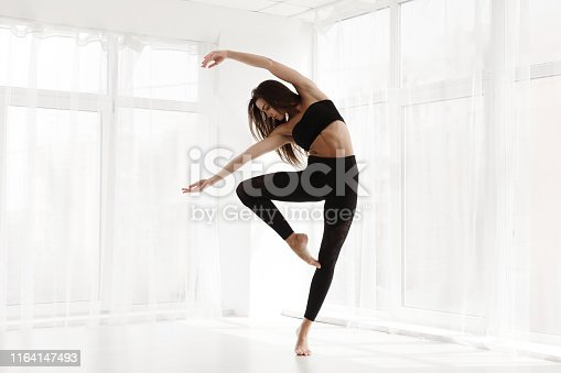 Gorgeous Lady Dancing Contemp and Ballet In Modern Studio. Free Space for text