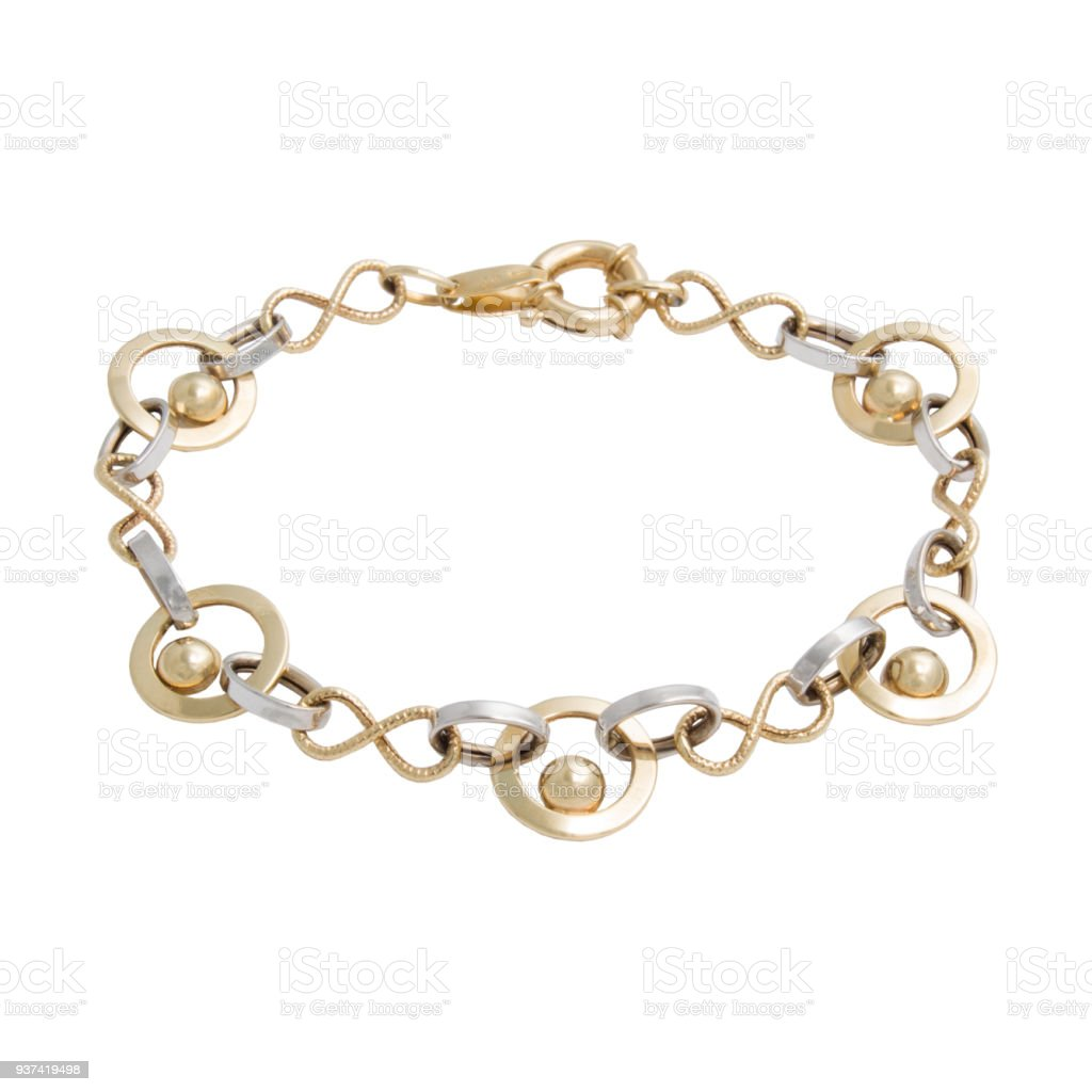 Graceful golden bracelet from white and yellow gold stock photo