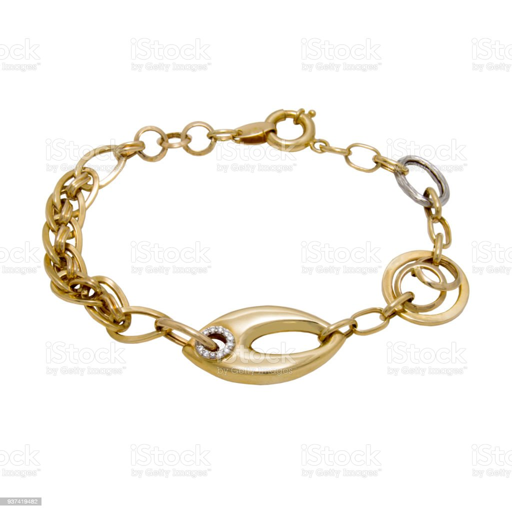 Graceful golden diamond chain bracelet from white and yellow gol stock photo