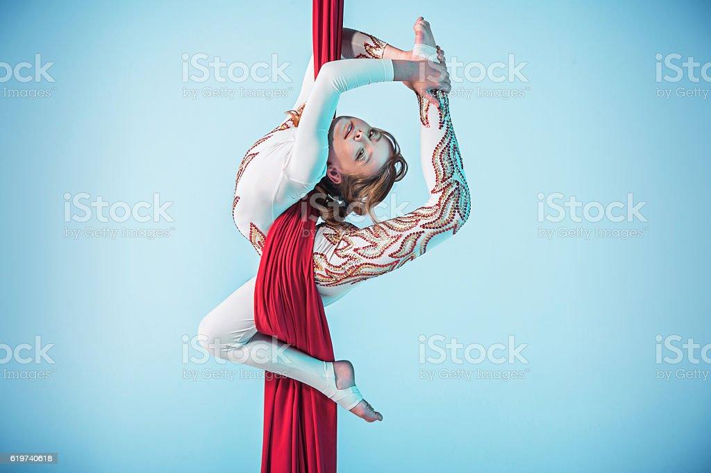 Elegante Leistung performing Luftaufnahme der Übung – Foto