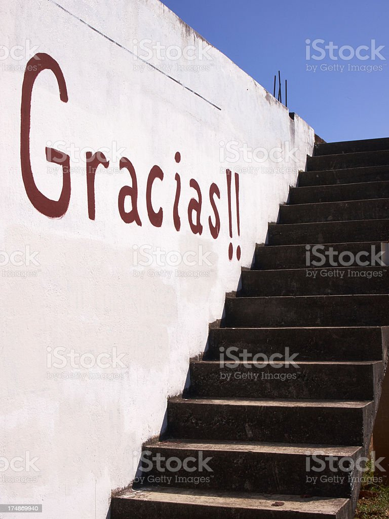 Gracias Thank You Sign, Mexico, Stairs royalty-free stock photo