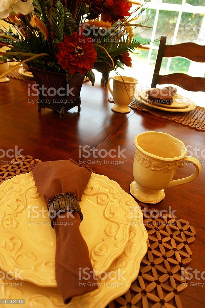 gracious breakfast or lunch table setting royalty-free stock photo