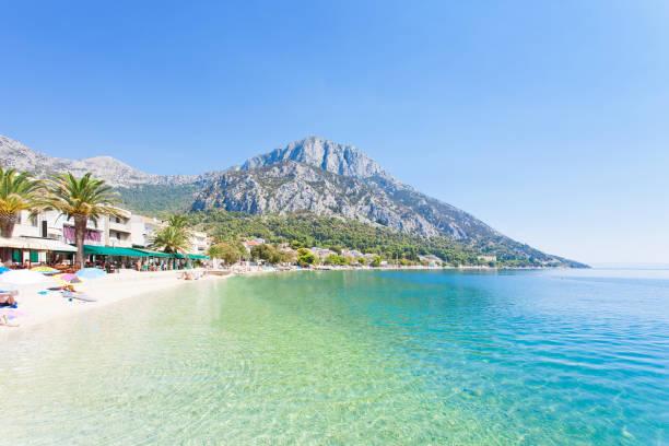 Gradac, Dalmatien, Kroatien-Übersicht über den schönen Strand von Gradac – Foto