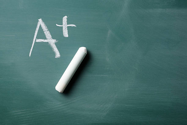 Grade - A+ on blackboard with copy space stock photo