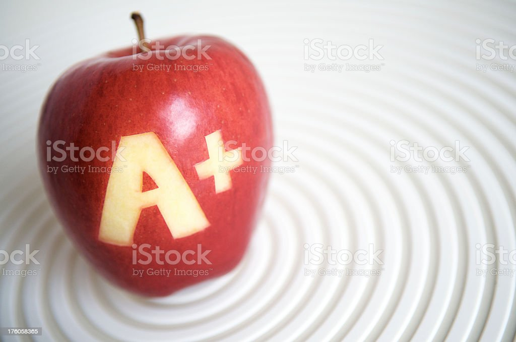 Grade A Plus Apple on White Circles royalty-free stock photo