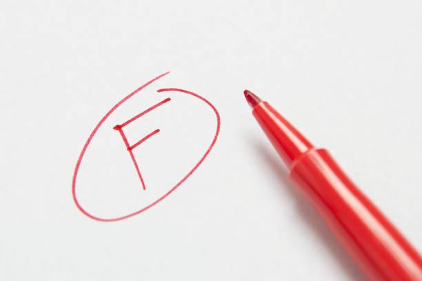 Grade F Letter F stock photo