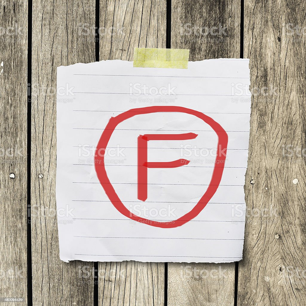 F grade on message paper with clipping path stock photo