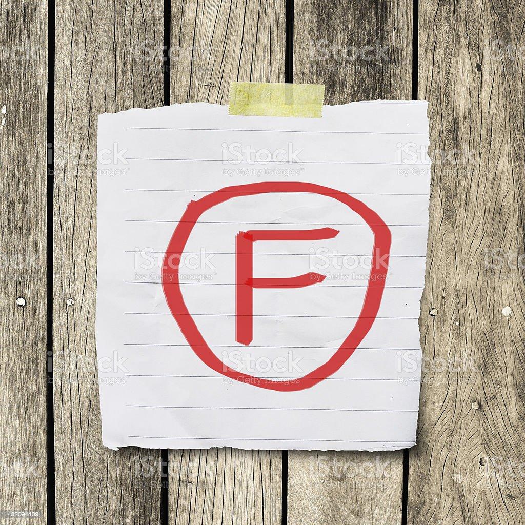 F Gruppe auf Nachricht Papier mit clipping path – Foto