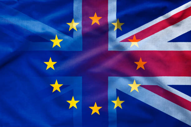 Gradient between EU and UK flags stock photo