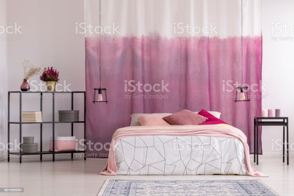 Gradient Curtains In Girls Bedroom Stock Photo - Download ...