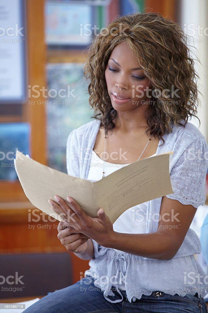 Grading papers stock photo