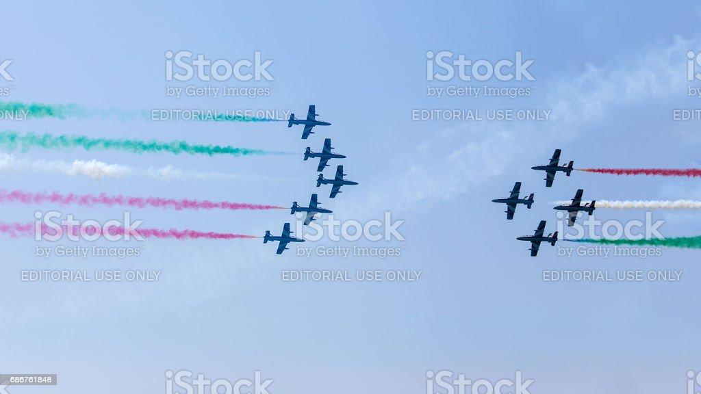 Grado, Italy - May, 14 2017: Airshow of Frecce Tricolori - Italian acrobatic aircraft team exhibition stock photo