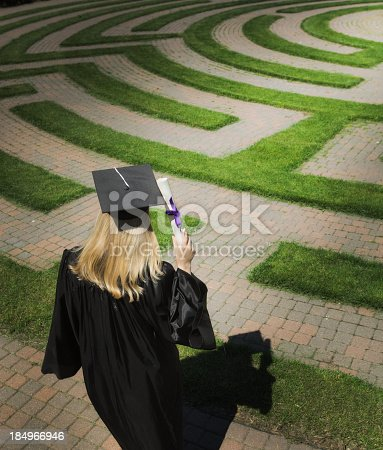 A graduating young woman student, wandering in the puzzling maze and searching the path for forecasting her employment, occupation, and job future success. Concept of student facing uncertain future of their life and career.