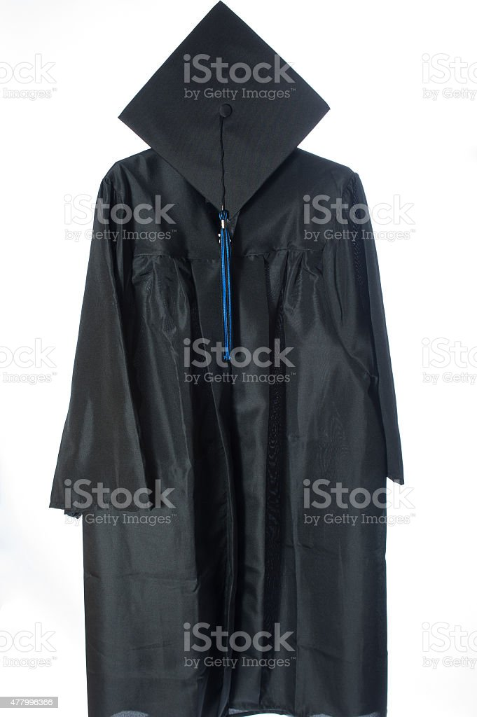 Graduate cap and gown stock photo