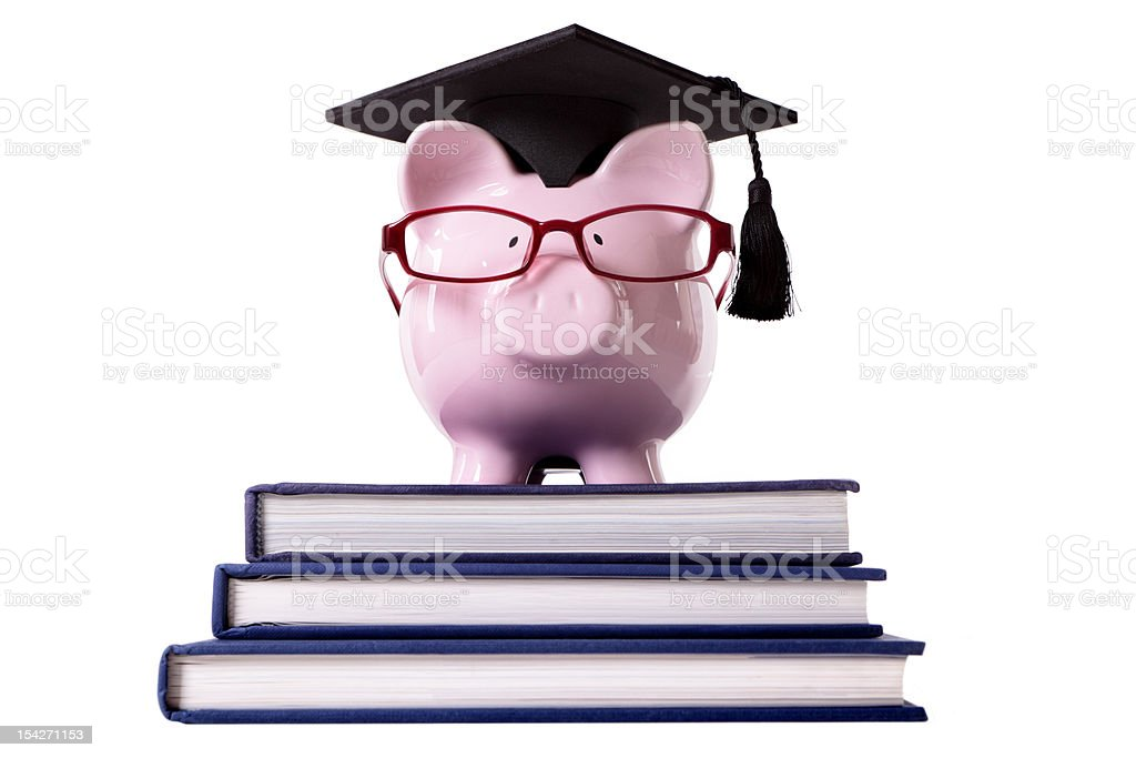 Graduate Piggy Bank royalty-free stock photo