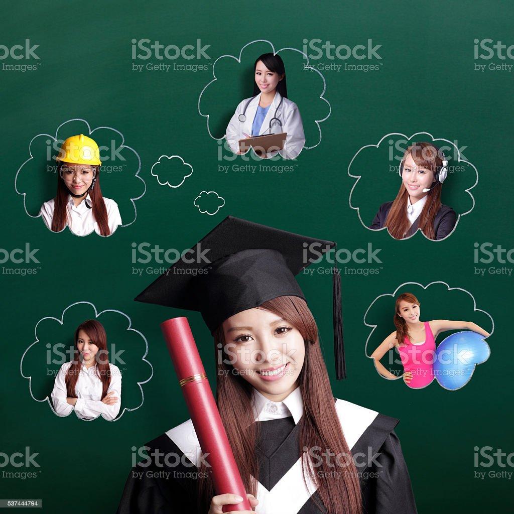 graduate student woman think future stock photo
