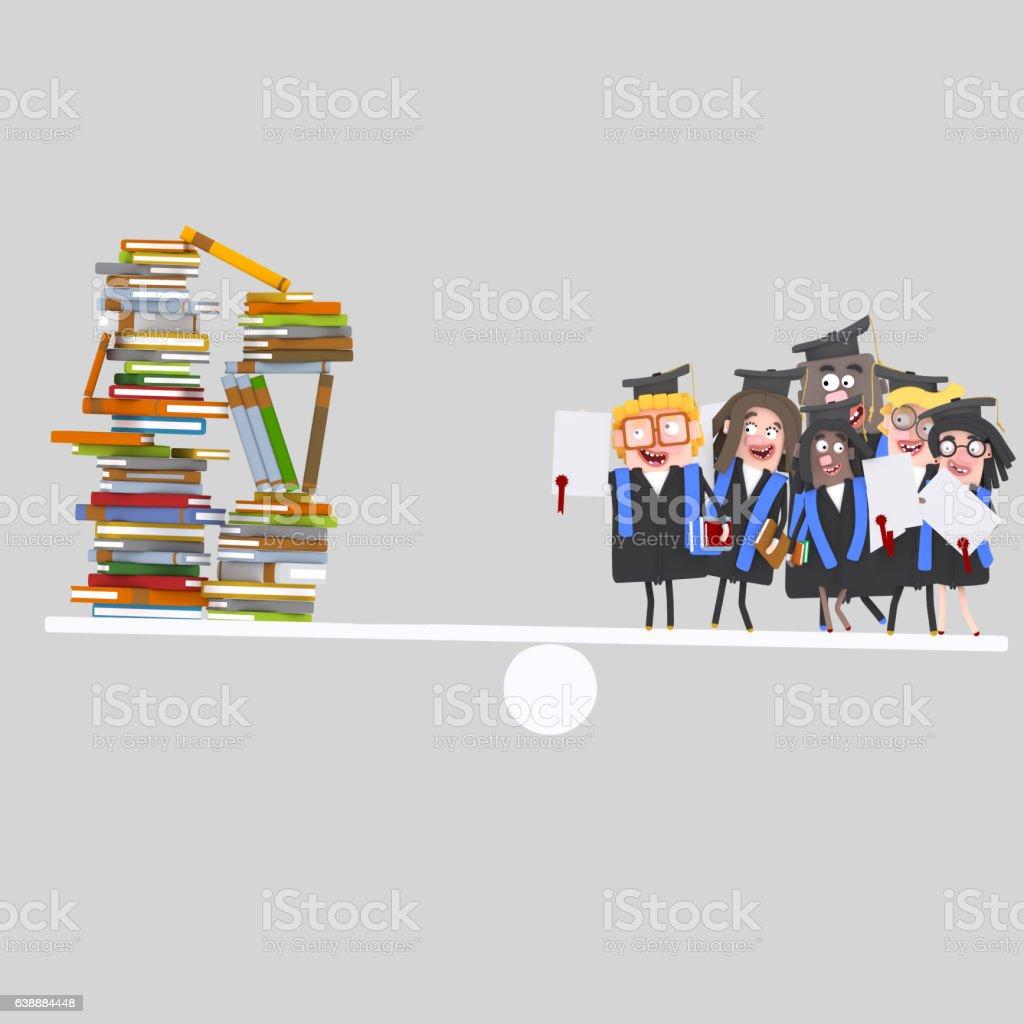 Graduate students balance - foto de stock