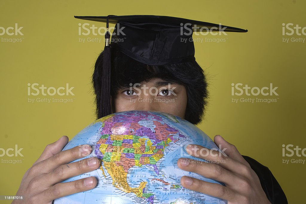 Graduate taking on the World royalty-free stock photo