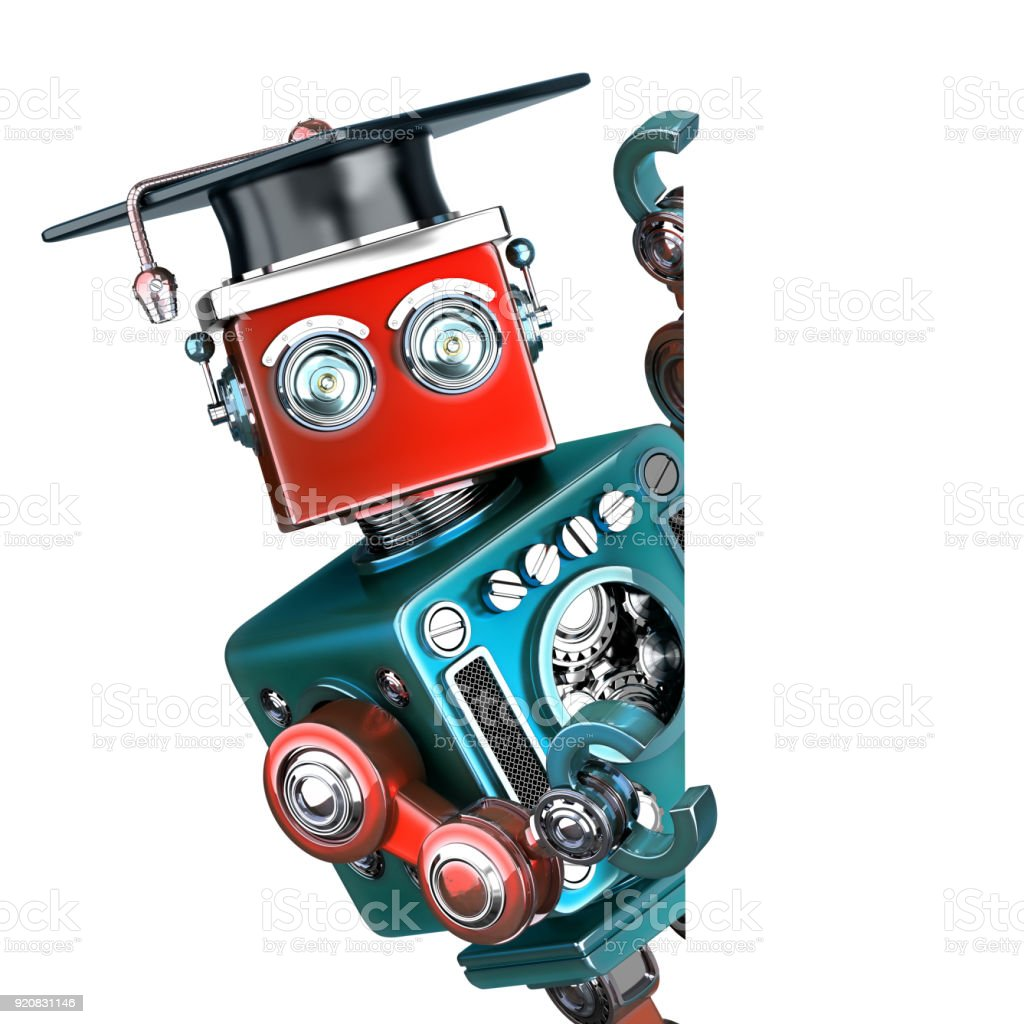 Graduate Vintage Robot with a blank banner. Isolated. Contains clipping path stock photo