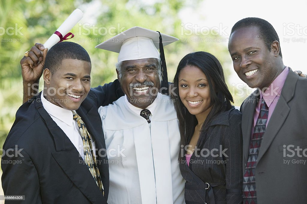 Graduate with Sons and Daughter stock photo