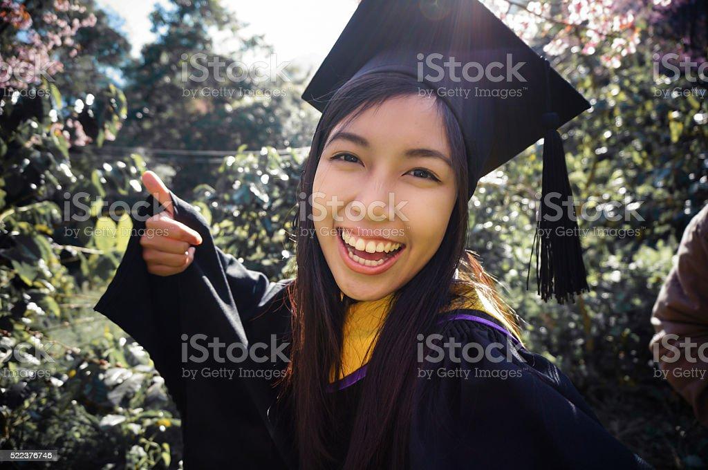 graduated girl selfie stock photo