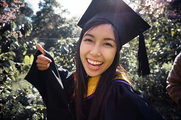 graduated girl selfie stock photo