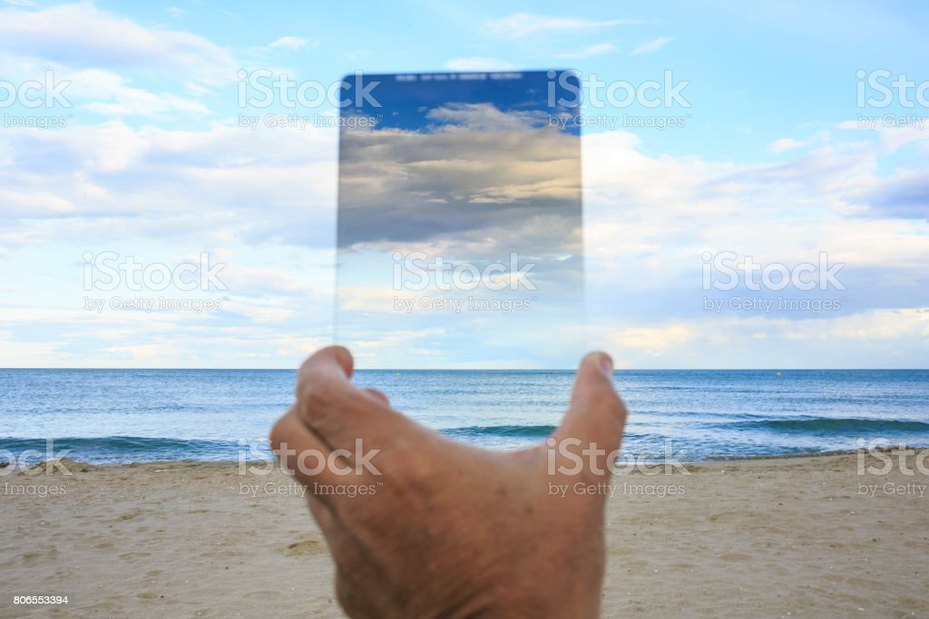 Graduated neutral-density filter in the sky stock photo
