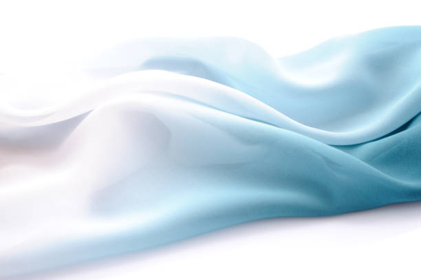 graduated silk from blue to white - softness stock photos and pictures
