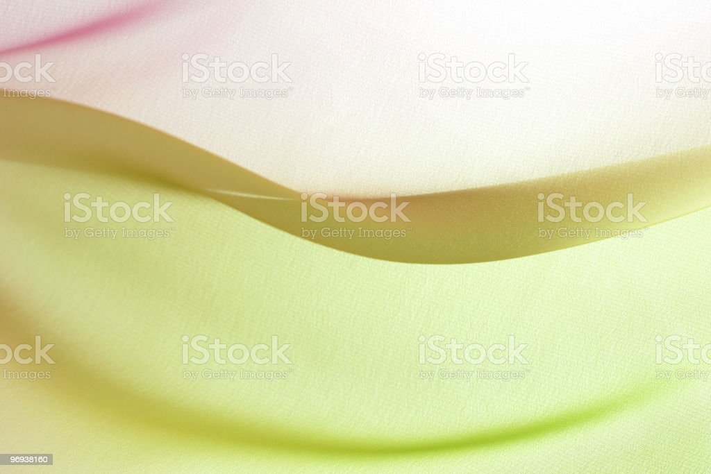 Graduated silk from green to pink royalty-free stock photo