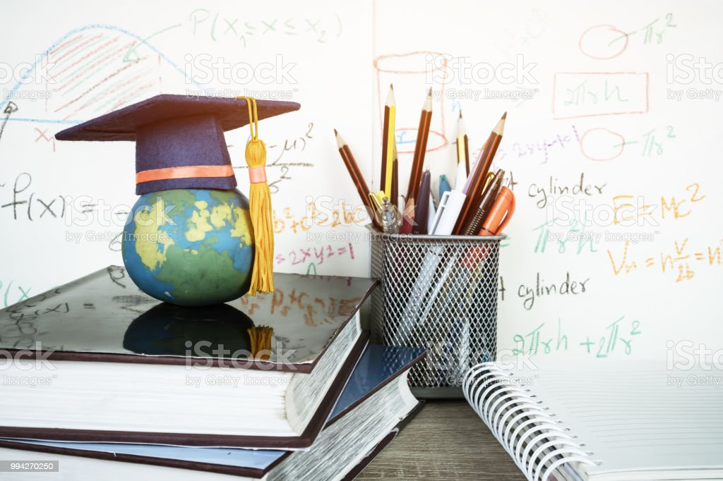 Graduated study abroad international Conceptual, Graduation hat on...