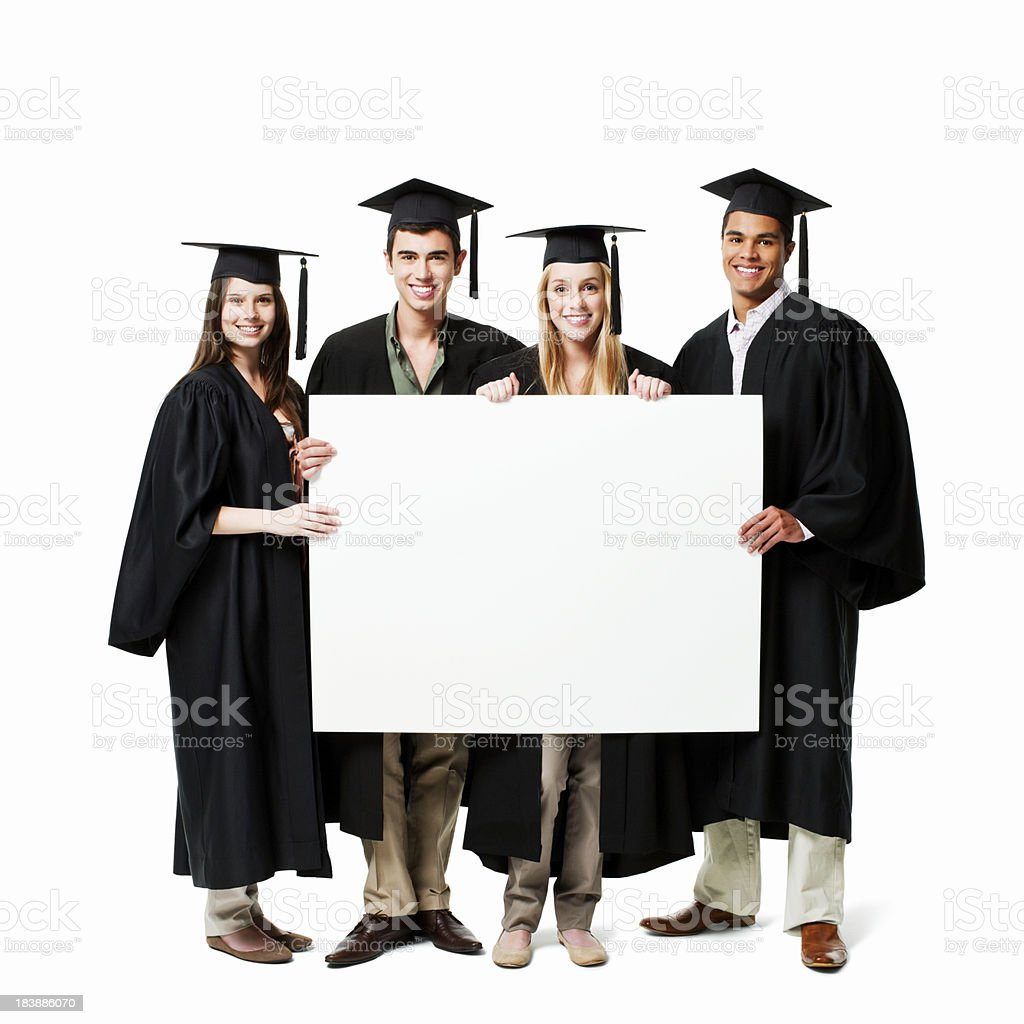 Graduates Holding Up a Message - Isolated royalty-free stock photo