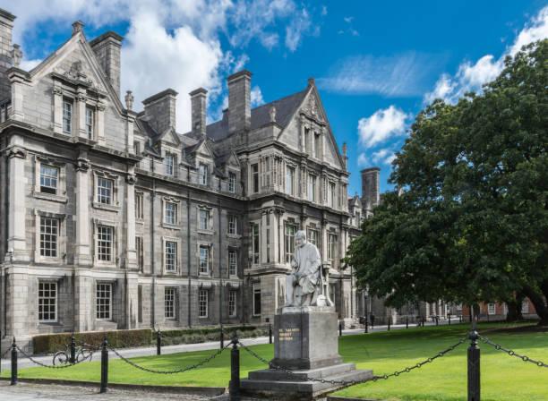 Graduates Memorial Building with George Salmon statue, Trinity College Dublin. stock photo