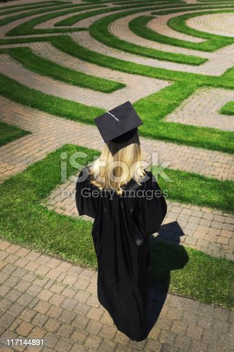 Subject: A graduating student wondering in the puzzling maze searching for a way to her future. Concept of student facing uncertain future to their life and career.