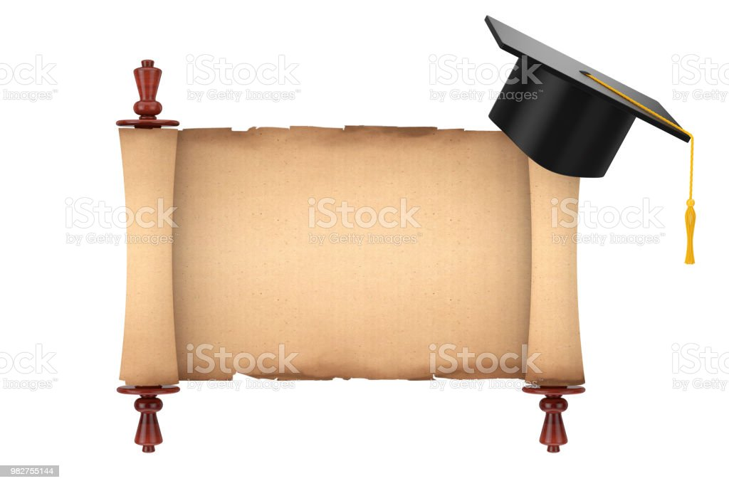Graduation Academic Cap Over Blank Old Paper Scroll Parchment Mockup 3d  Rendering Stock Photo - Download Image Now