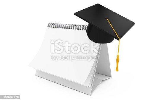 istock Graduation Academic Cap over Blank Paper Desk Spiral Calendar. 3d Rendering 938687176