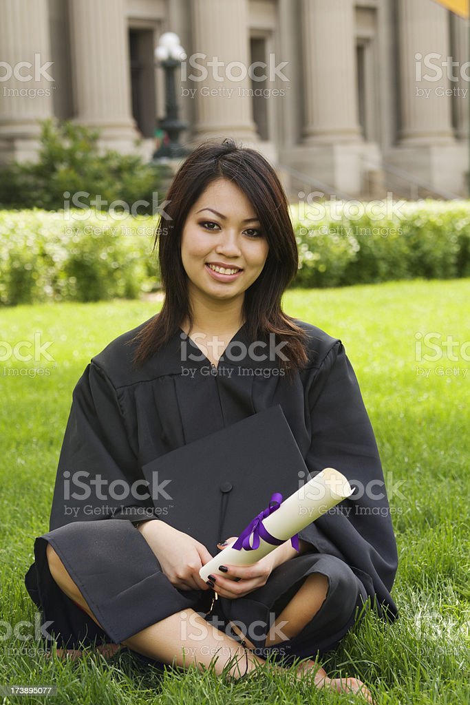 Graduation - Asian Student on Campus royalty-free stock photo