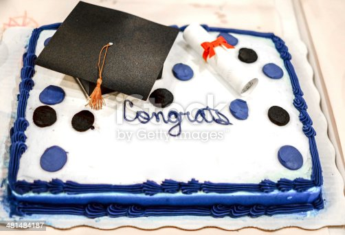 Graduation cake with a blank section for names.