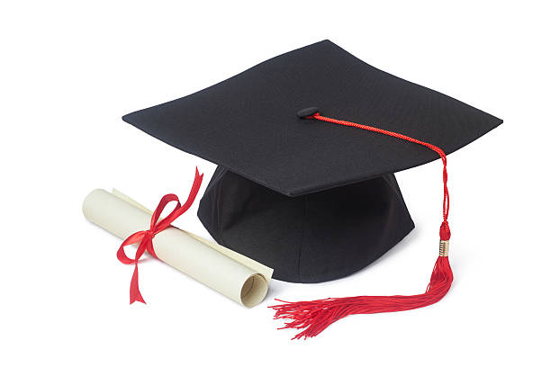 graduation cap and diploma - diploma stock photos and pictures