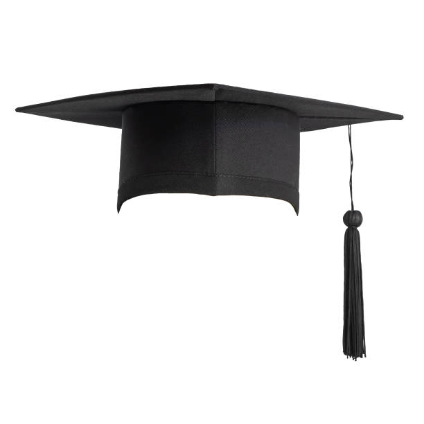 graduation cap isolated on white background with clipping path for educational hat design mockup and school commencement hat mock-up template - czapka zdjęcia i obrazy z banku zdjęć