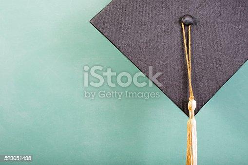 istock Graduation!  Cap, motarboard, green chalkboard. Education background. 523051438