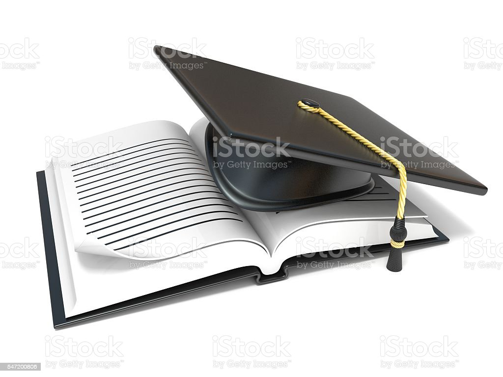 Graduation cap on open blank notebook. 3D stock photo