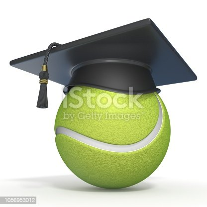 istock Graduation cap on tennis ball 3D 1056953012