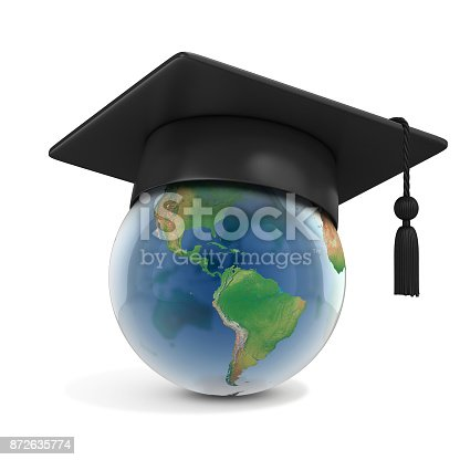 istock Graduation cap on top of the globe on a white background 3d rendering 872635774