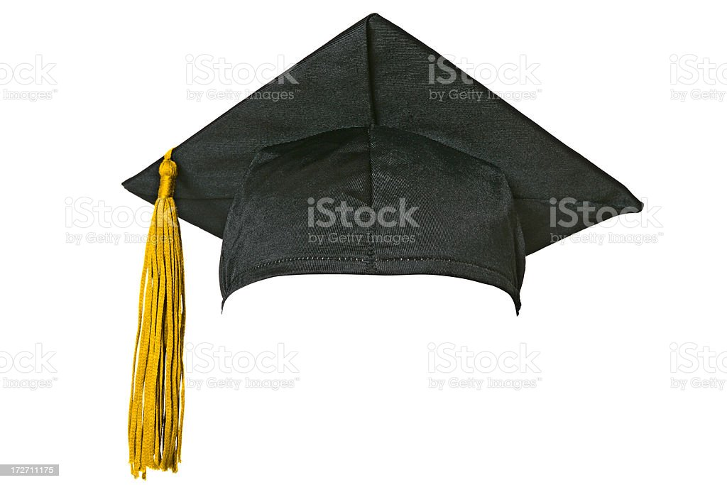 Graduation cap (isolated on white) stock photo
