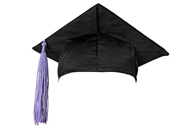 Graduation cap (isolated on white) stock photo