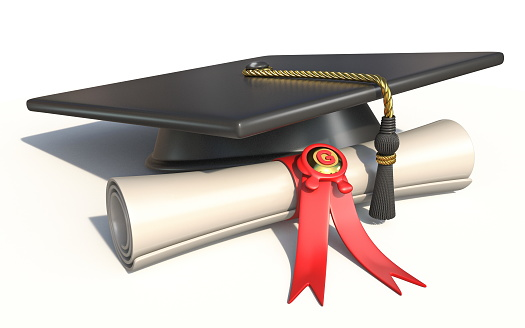 Graduation Cap With Diploma 3d Stock Photo - Download Image Now - iStock