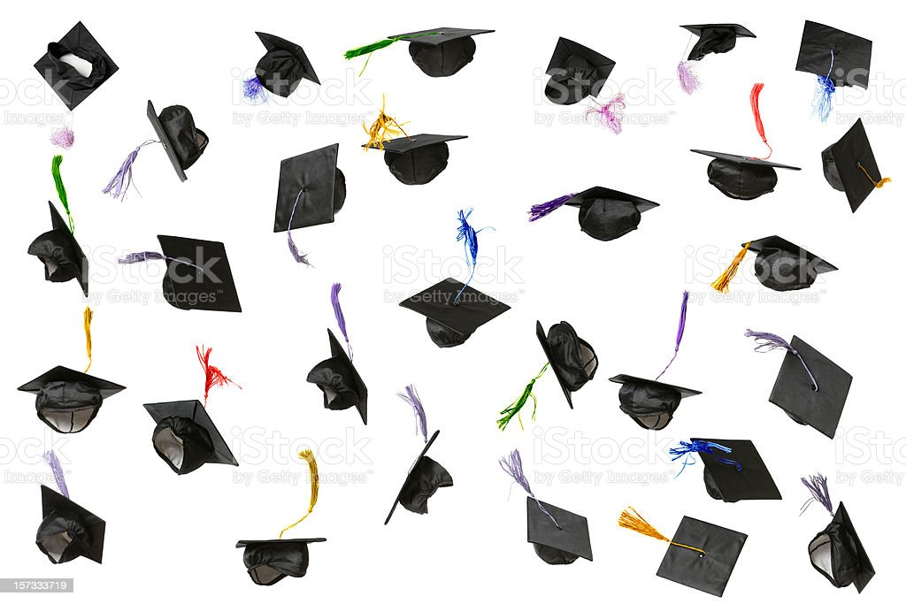 Graduation Caps (isolated on white) stock photo
